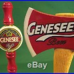2 Lot GENESEE Beer Draft Tap Pull Handles Circle Logo & Fireman Axe Man Cave