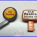 2 Vintage 40s/50s/60s Old Reading Golden Dry Beer Tap Handle Knob Pull Marker