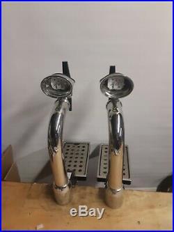 2 X Chrome Beer Pumps/fonts Taps And Handles Home Bar 2 Line Set Up Mancave