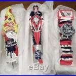 3 Diff. NIB PBR Pabst Blue Ribbon Art Sign Beer Keg Tap Handle Pizza Kegatron