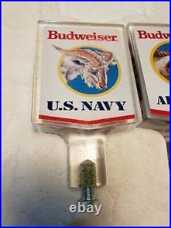 4 Vintage Rare Budweiser Acrylic Air Force Marines Navy Army Beer Tap Handles
