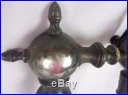 Antique Silver Plate over Solid Brass Soda Fountain Beer Tap- Marble Handle