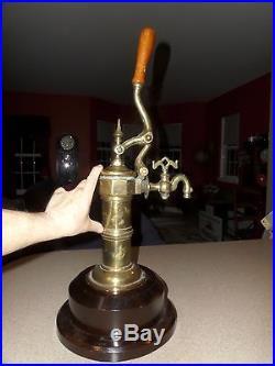 Antique Vintage Brass BEER TAP Dispenser 24 Tapper Wood Handle & Base BEAUTIFUL