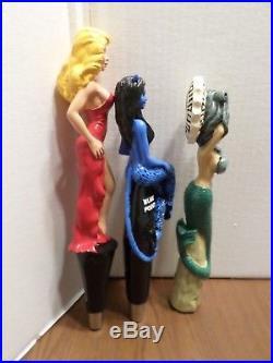 Beer Keg Tap Handle Lot 3 Badass Cisco Grey Lady Mermaid Blue Devil Blonde New