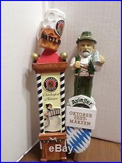 Beer Keg Tap Handle Lot of 2 German Ayinger Man Paulaner Oktoberfest 11.5 &13