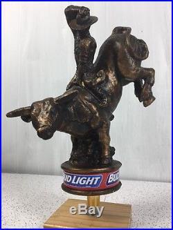 Bud Light Bull Rider Vintage Beer Tap Handle Knob Rare Man Cave Breweriana