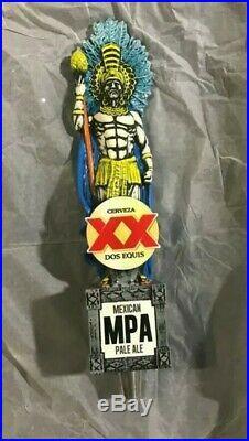 DOS EQUIS XX CERVEZA RARE! Aztec Warrior MEXICAN PALE ALE Beer Tap Handle