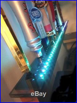 Deluxe Lighted 10 Beer Tap Handle Wall Display Rosewood Color Leds