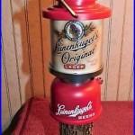 LEINENKUGEL'S Original BEER Coleman Lantern On Stump TAP HANDLE with Dual Insert