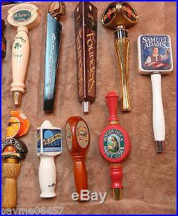 Lot of 15 Beer Bar Tap Handles Sam Adams Blue Moon Woodchuck Michelob Hooker Ale