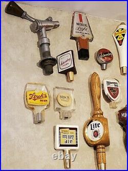 Lot of (17) Vtg Beer Bar Tap Handles Miller Lite, Burger Brau, Schoenling