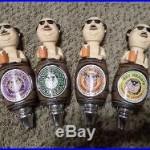 Lot of 4 Diff. Fat Head Bald Man Barrel 9 Beer Keg Tap Handle Marker Knobs