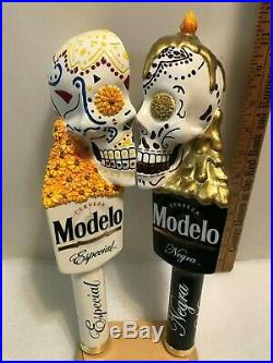 MODELO ESPECIAL AND NEGRA SUGAR SKULLS beer tap handles. MEXICO. NEW IN BOX