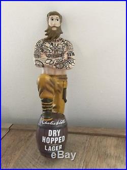 NEW Charlie Wells Bearded Man Body Tattoo Beer Keg Tap Handle Very Rare