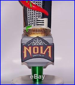 NEW IN BOX VERY RARE NOLA BREWING BEER RED MECHA HOPZILLA TAP HANDLE withSTAND