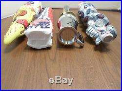 NIB Beer Keg Tap Handle Lot of 4 PBR Pabst Blue Ribbon Snake Pizza Tankard Sword