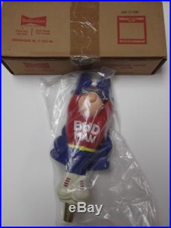 NIB VINTAGE FLYING BUD MAN figural BEER TAP HANDLE KEG TOPPER KNOB Budweiser