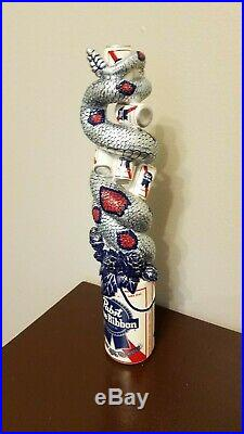 Pabst Blue Ribbon Snake Can NIB 11 Draft Beer Tap Handle Rare Man Cave Bar Sign