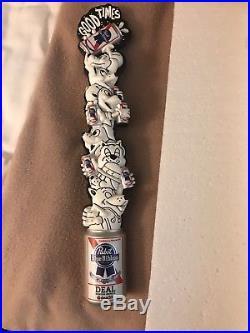 Pabst blue ribbon beer PBR digger arts series dog pile beer tap handles. NIB