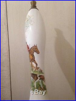 RARE HOMARK ANTIQUE SOLID BRASS BEER TAP CERAMIC HANDLE, Horse Hunting Dog BAR