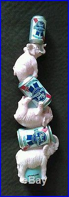 -RARE/MINT- PABST BLUE RIBBON PBR PINK ELEPHANTS COME HOME BEER TAP HANDLE