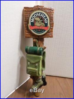 Rare Moosehead Lager Backpack Hiking Boots 11 Beer Keg Tap Handle