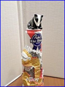 Rare PBR Pabst Blue Ribbon Badger Nice 10 Draft Beer Keg Tap Handle