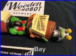 Rare Wooden Robot Brewing beer tap handle NEW