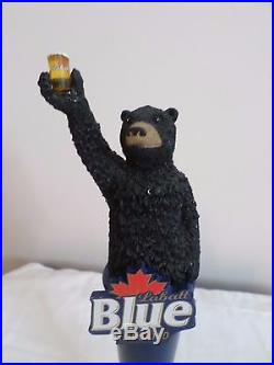 Rear Labatt Blue Imported Toasting Black Bear with Stand 12 Beer Keg Tap Handle