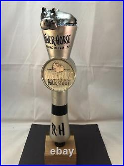 River Horse Oatmeal Milk Stout Beer Tap Handle Rare Figural Hippo Tap Handle