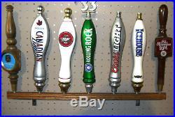 SOLID OAK WALL MOUNTED (7) Beer Tap Handle Display