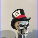Top hat 13 skull figural beer tap handle for kegerators! Brand New! Skeleton