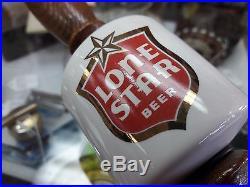 VINTAGE 1970's LONE STAR BEER WOOD & CERAMIC TAP HANDLE 9.5 TEXAS KEG BREWERY