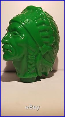 Very Rare / Vintage Iroquois (green) Indian Head Beer Tap Knob Handle Buffalo Ny
