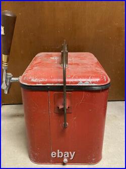 Vintage 1950s Metal Cooler Chest with Custom Beer Tap & National Beer Tap Handle