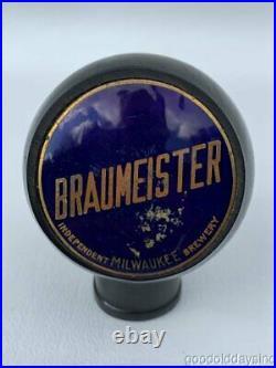 Vintage Braumeister Independent Brewery Milwaukee Round Beer Knob Tap Handle