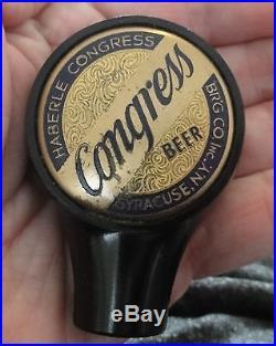 Vintage Haberle Congress Beer Advertising Tap Handle Knob Syracise, N. Y