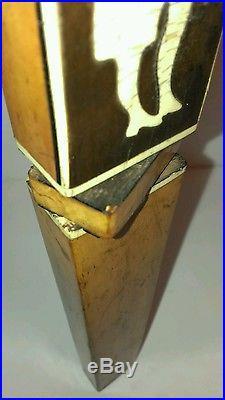 Vintage unique rare wood bone cellulod inlay violin player beer tap handle LQQK