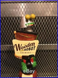 WOODEN ROBOT BREWERY NC RARE Figural What He's Having IPA Beer Tap Handle